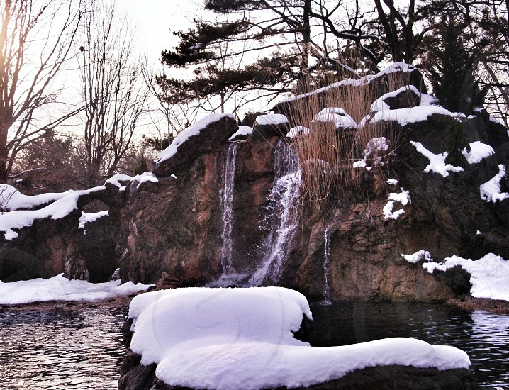 winter winter scene snow forest pond lake mountain waterfall photo