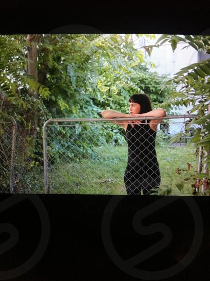 womens black cotton tank photo