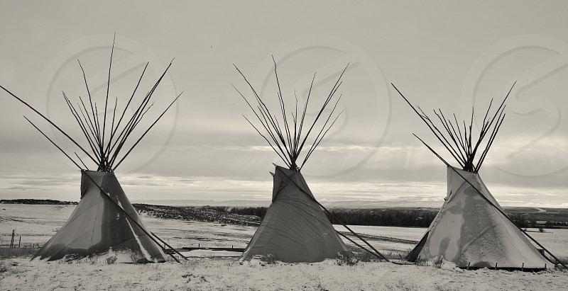 Teepees of the Native American tribe of the crows in North Dakota photo