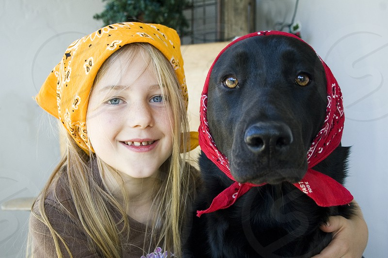 girl and her dog goofy times with our dog black lab bandanas fun silly  photo