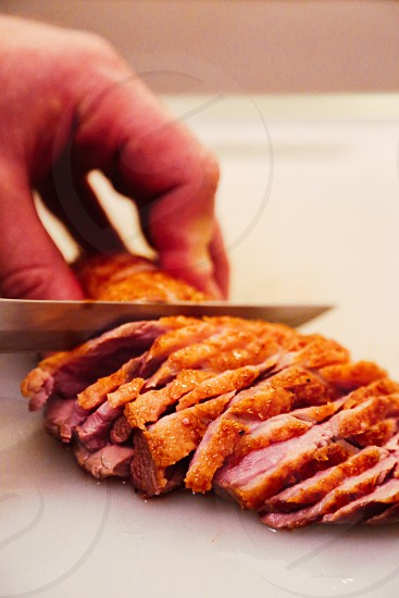 Meat duck food eat cutted cutting slice sliced slices duckmeat  homemade cooking home kitchen cook chef dinner meats fried fry skin restaurant restaurants dine photo