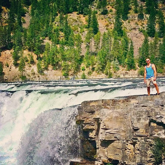 Travel vacation hiking Glacier National Park Montana Going to the sun road scenic waterfall photo