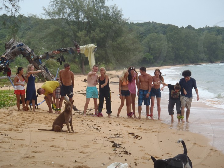 One legged race on a deserted island somewhere in Cambodia  photo