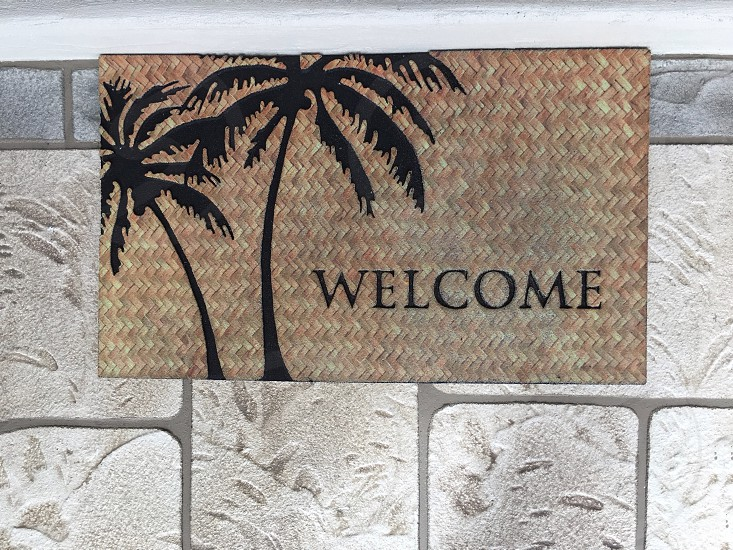 gray and black welcome signage with coconut tree print photo