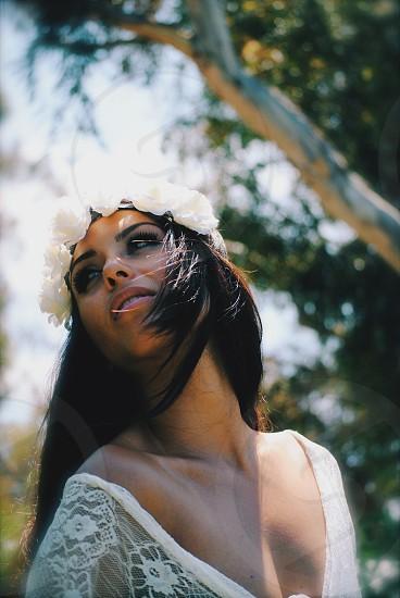 woman wearing white mesh dress photo