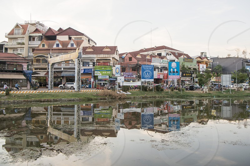 the Siem Reap River in the old Town in the city of Siem Reap in northwest of Cambodia.   Siem Reap Cambodia November 2018 photo
