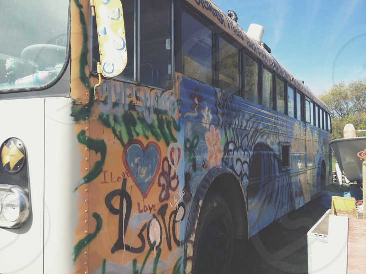 white orange and blue passenger bus photo
