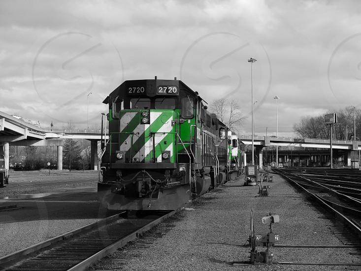 Locomotives train railroad Tacoma Washington green black and white photo