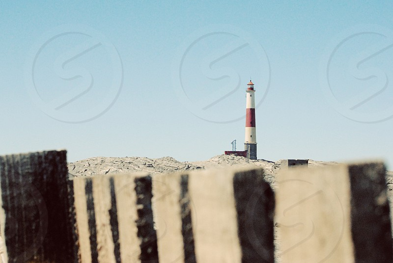 Lighthouse Namibia Luderitz fence beacon. photo