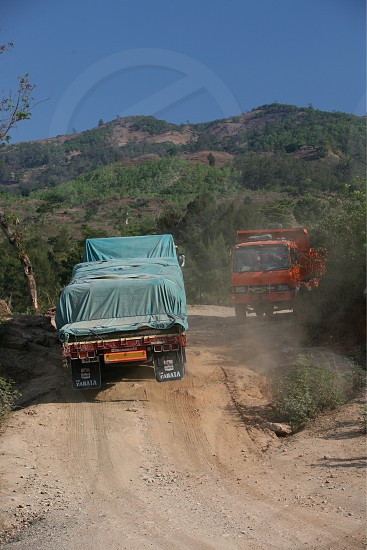 a road near at the village of Moubisse in the south of East Timor in southeastasia.