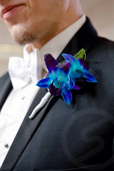 man in black suit with blue flower accessory photo