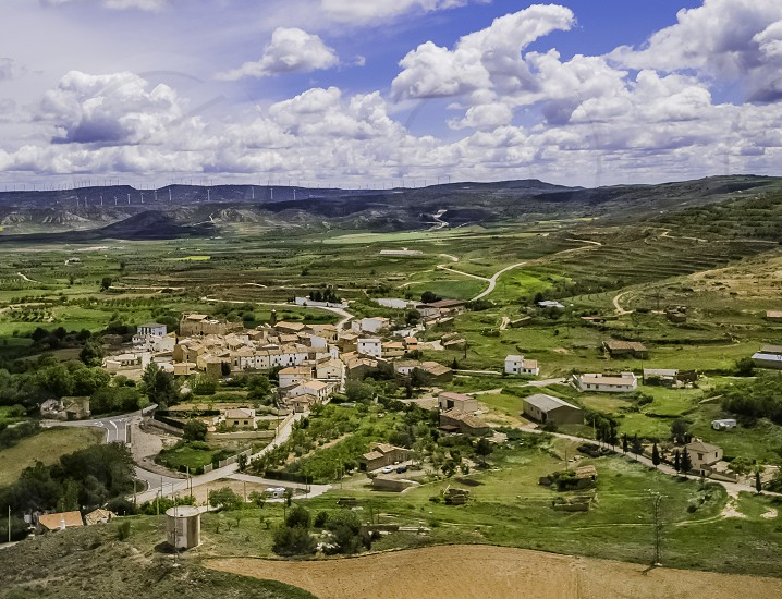 aerial view of the town of grisel in zaragoza photo