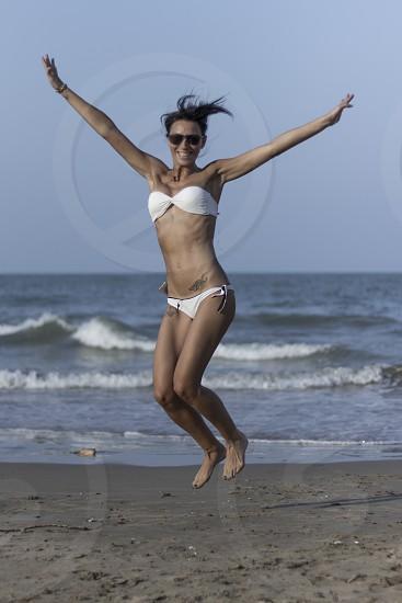 womens white bikini photo