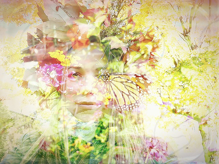 Autumn lady autumn autumn girl Mother Nature nature leafs colors autumn colors butterfly flowers abstract faded photo