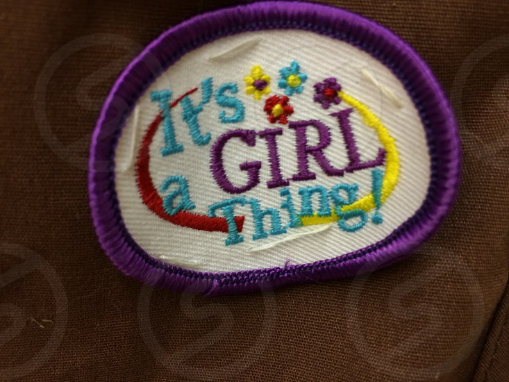 white and purple it's girl a thing patch photo