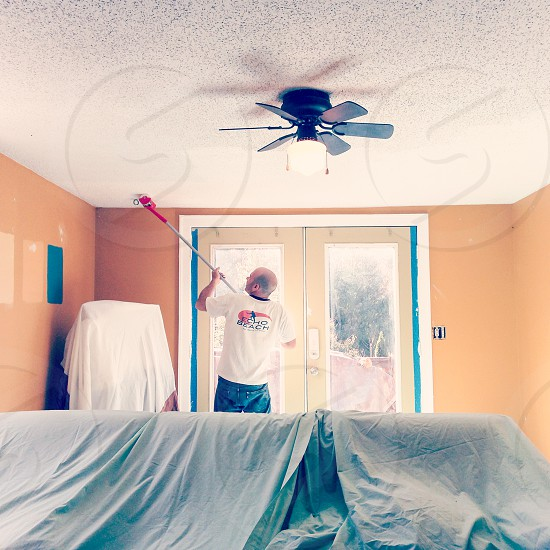 Painting the ceiling and walls. photo