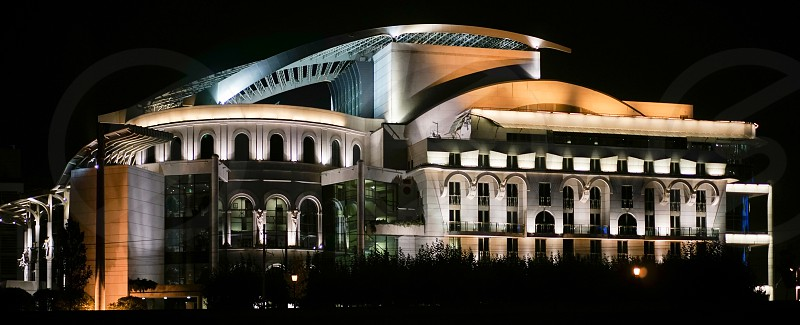 National Theatre Illuminated at Night in Budapest photo