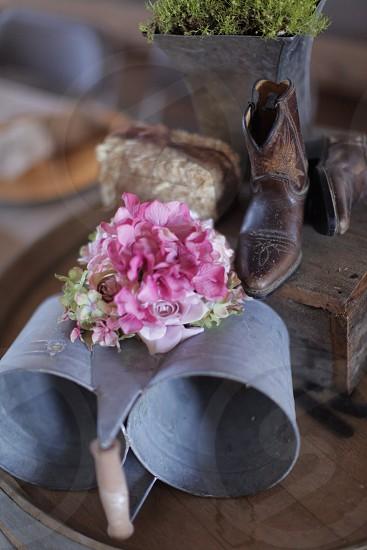 brown leather shoe behind purple flower photo