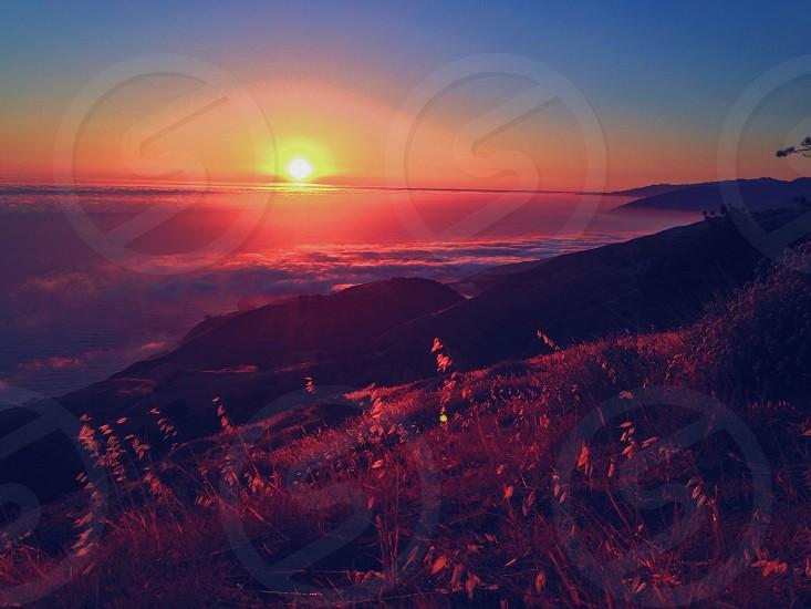 mountain at sunset photo