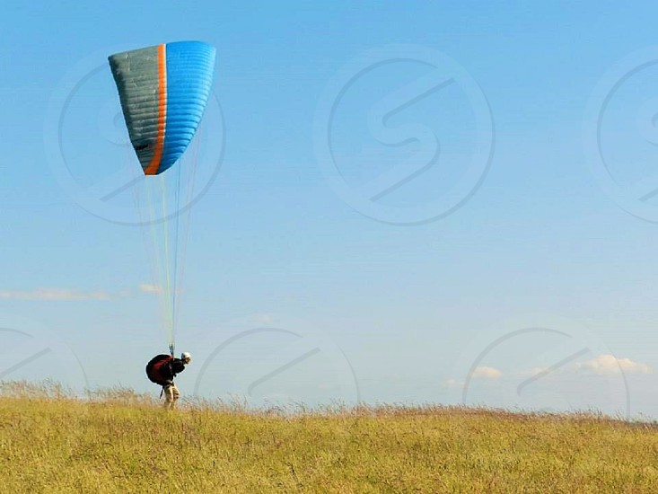 Man paragliding at Fort Ebey in WA state photo