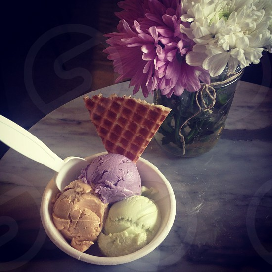 Beautiful Table Setting for an Ice Cream Trio photo
