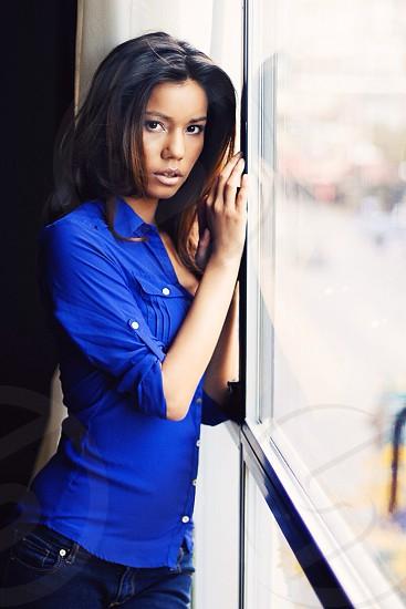 womens blue satin button up dress shirt photo
