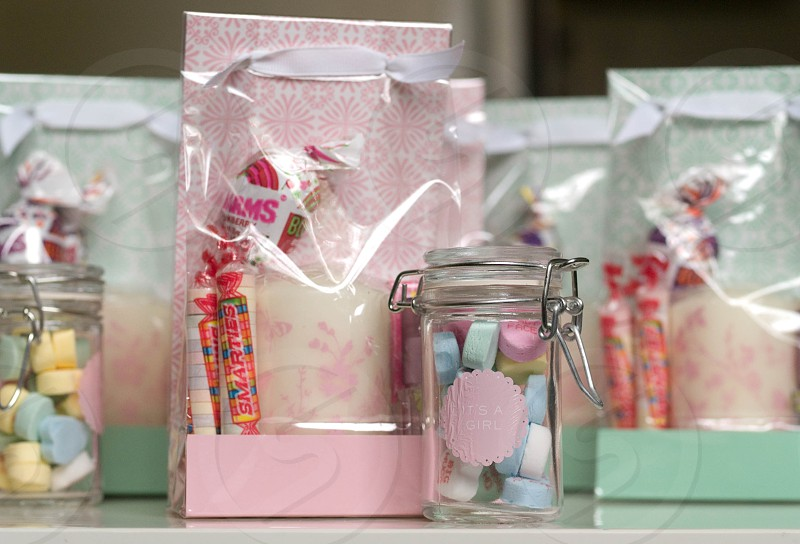 Baby shower gift bags in pink and mint photo