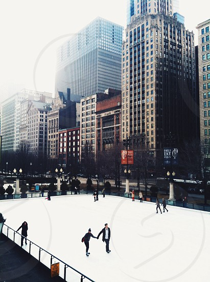 white ice skating ring photo