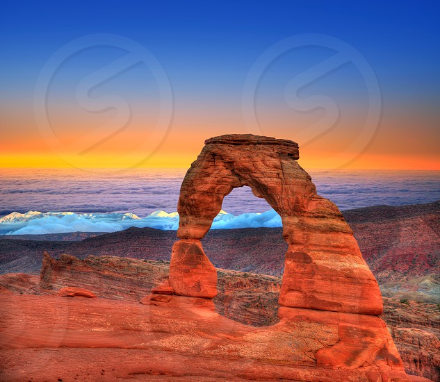 Arches National Park Delicate Arch sea of clouds in Moab Utah USA photo mount photo