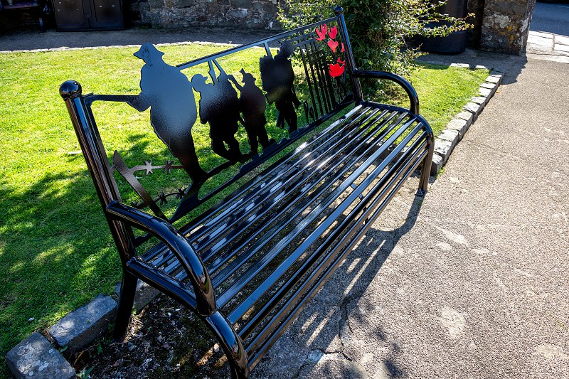 ST DAVID'S PEMBROKESHIRE/UK - SEPTEMBER 13 : A new commemorative bench in the gardens at St David's in Pembrokeshire on September13 2019 photo