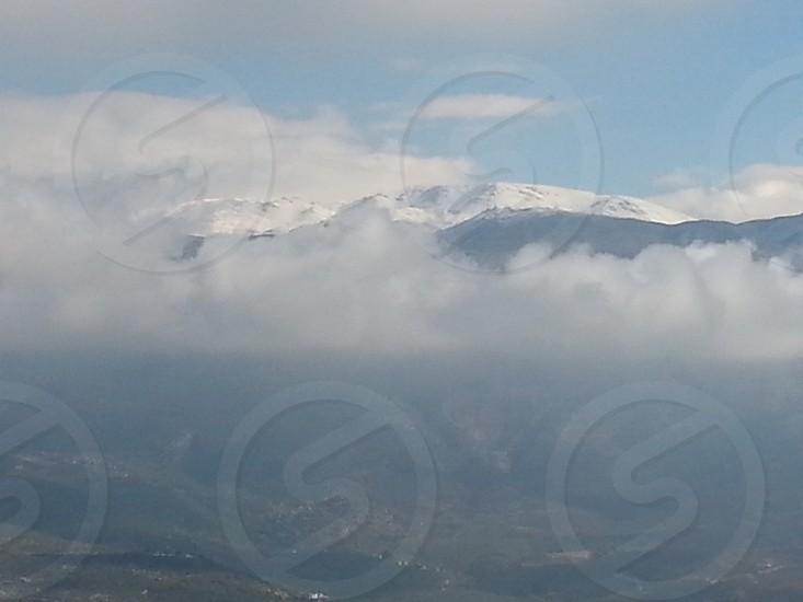 Montagne. Cloud. Snow.nature. winter.  photo