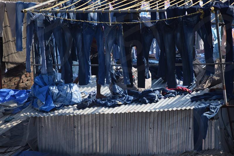 Clean blue jeans photo