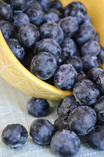 Blueberries falling out of a yellow ceramic bowl photo