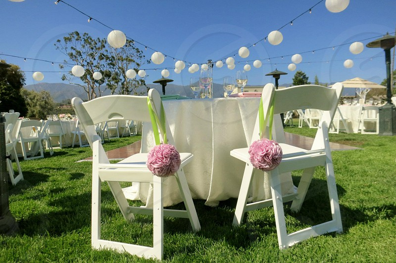 white wood table chairs photo