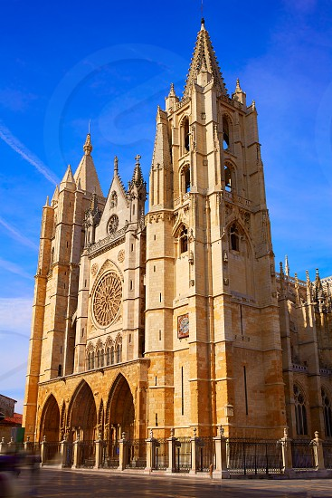 Cathedral of Leon facade in Castilla at Spain photo