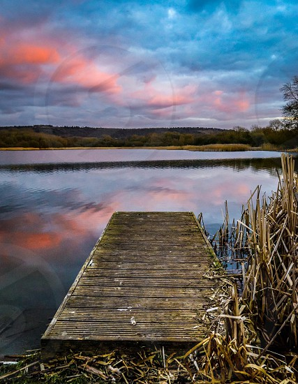 Water lake colour color red blue reflection sunset sun landscape landscapes  photo