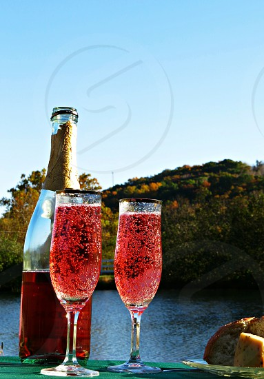 Sparkling wine out in the countryside. photo