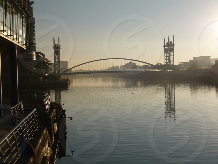 Bridge in the morning mist on the Manchester Ship Canal photo
