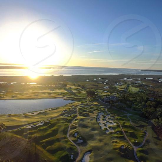 Golf Course golf sunrise marsh sound nature ocean  photo