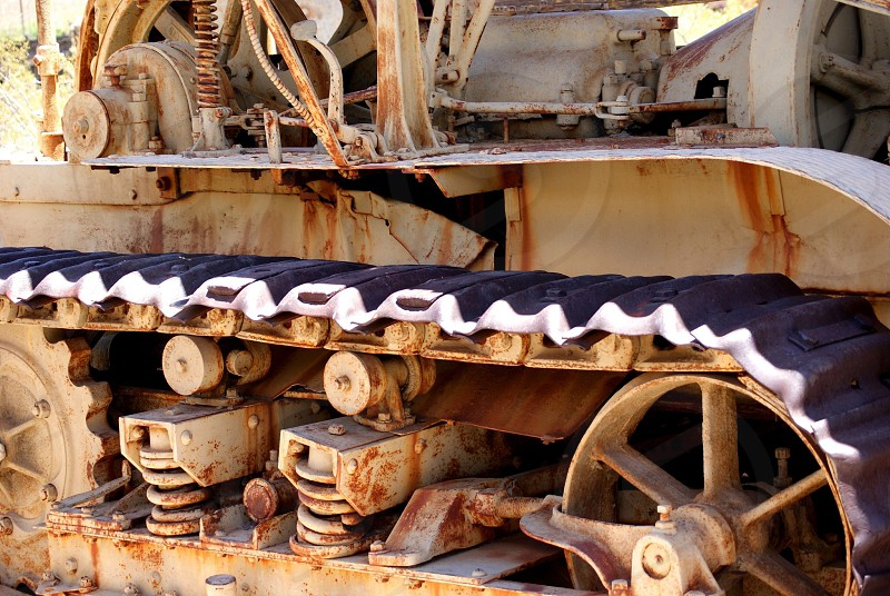 Antique heavy machinery with tracks photo