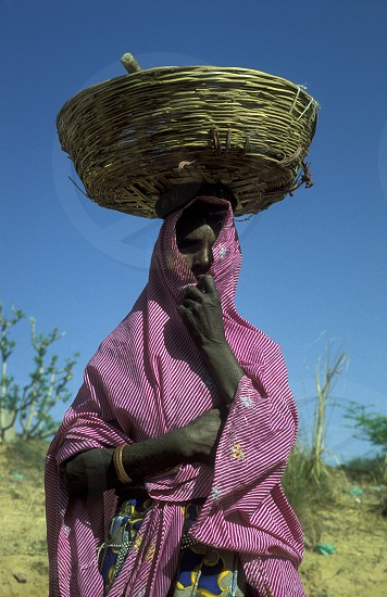 a women  in the town of Jaisalmer in the province of Rajasthan in India. photo