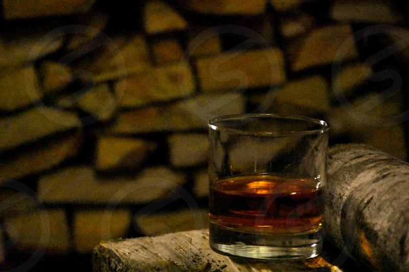 beverage glass amber wood ambiance relax dim lighting photo