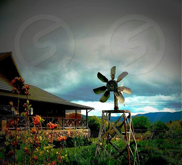 wind mill beside bed of flowers and house under cumulus clouds during golden hour photo