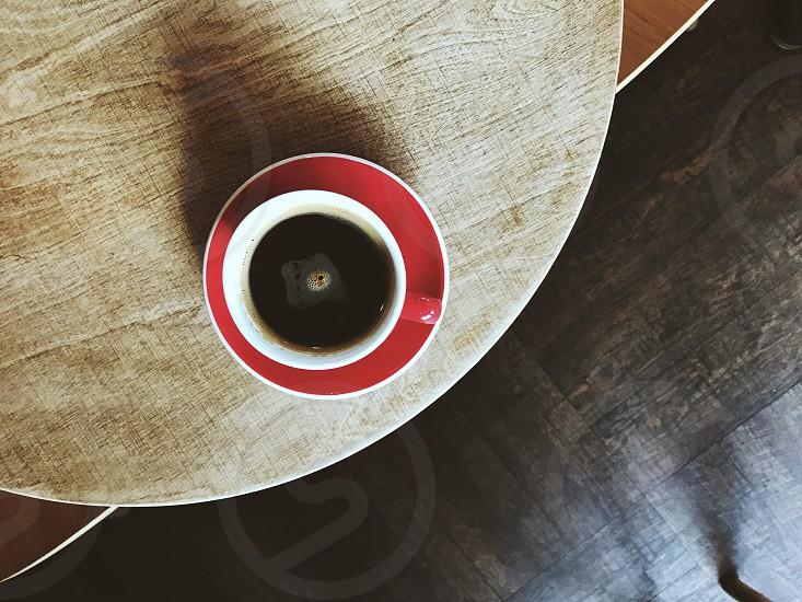Coffee cup flat lay red espresso breakfast morning photo