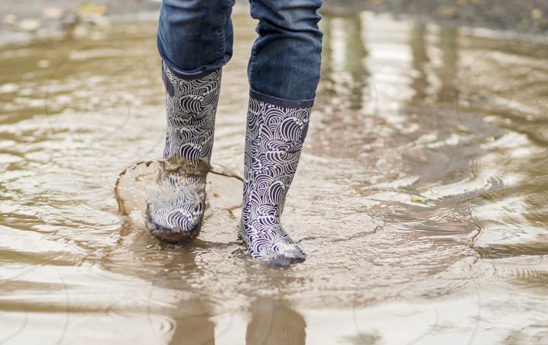 Puddle wellies bootswaterwalk walking mudmuddy splashsplashing photo