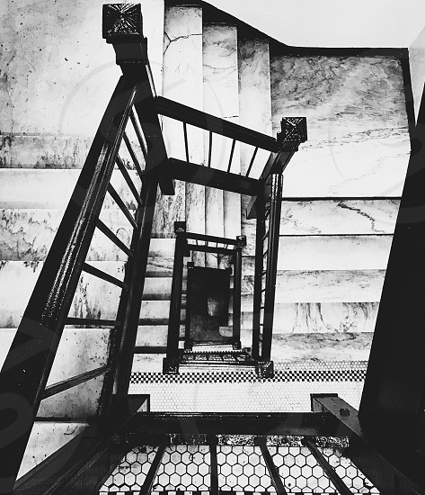 Marble staircase New York City black and white photo