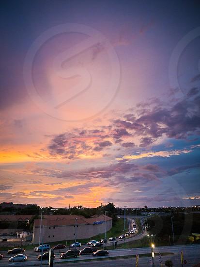 sunset car traffic sky photo