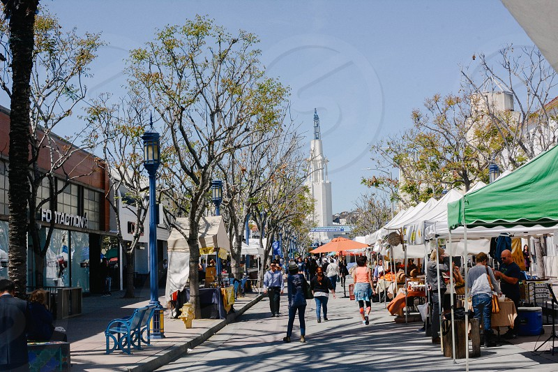 Westwood Farmers Market with Fox theater in background photo