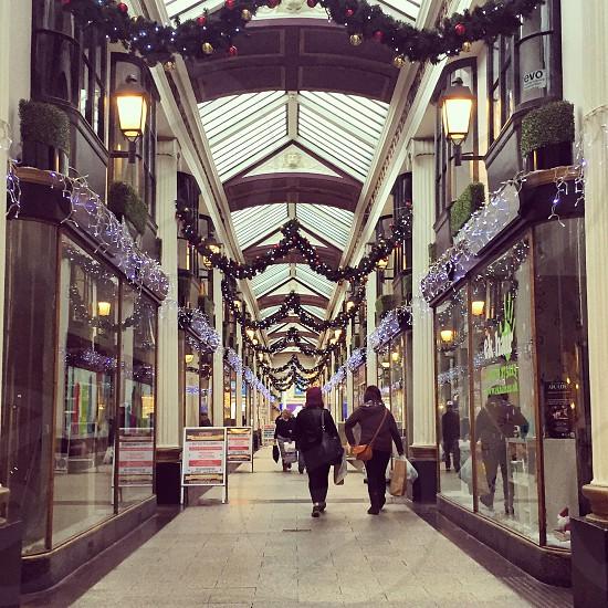 Bristol shopping arcade Christmas decorations photo