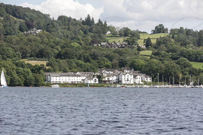 A large white hotel in Ambleside on the shores of Windermere in the Lake District National Park photo